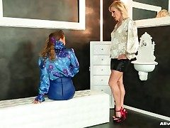 Elegant satin blouse girls take lesbian video