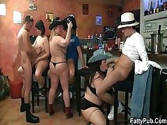 Decide BBW orgy wide the bar-room