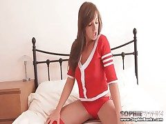 Sweetie in cardigan sweater and cheerleader miniskirt