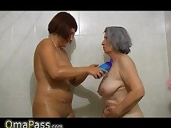 Plus-size gray lush Granny with old Mature nymph in bath