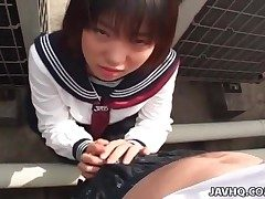 Sexy Japanese damsel unloads as she rides ginormous dildo