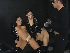 Threesome in the dungeon with black spandex chicks