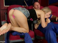 Blonde hottie Michelle Moist pleases hunk approximately fabulous foot labour added to hardcore shafting