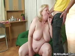 Phat grannie is banged by her son-in-law on law