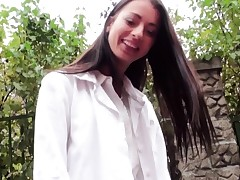 Hitchhiking eurobabe gives driver foot wank