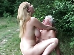 All-natural huge titted biotch fucks grandpa in the woods